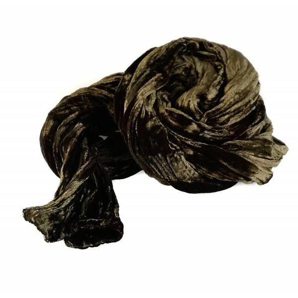 Fular de terciopelo doble de seda chocolate 084
