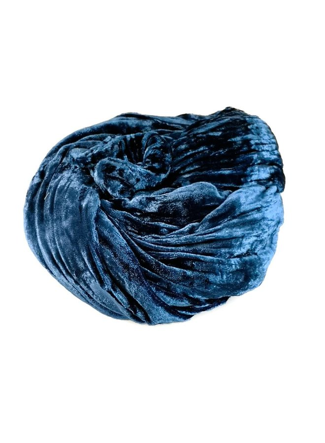 Indigo Silk Double Velvet Schal 081