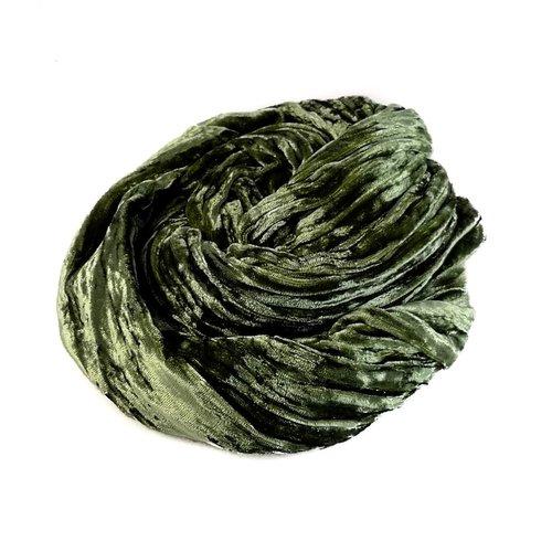 Lady Crow Silks Pañuelo de terciopelo doble seda verde salvia 063