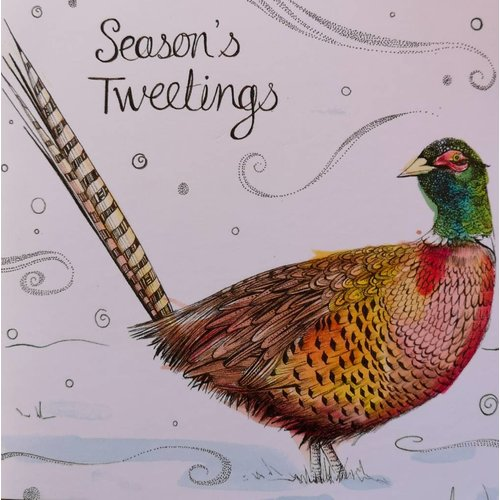 Sophie Cunningham Pheasant Seasons Tweetings card 5 x 5 cm