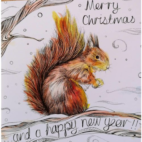 Sophie Cunningham Squirrel Merry Christmas card 5 x 5 cm