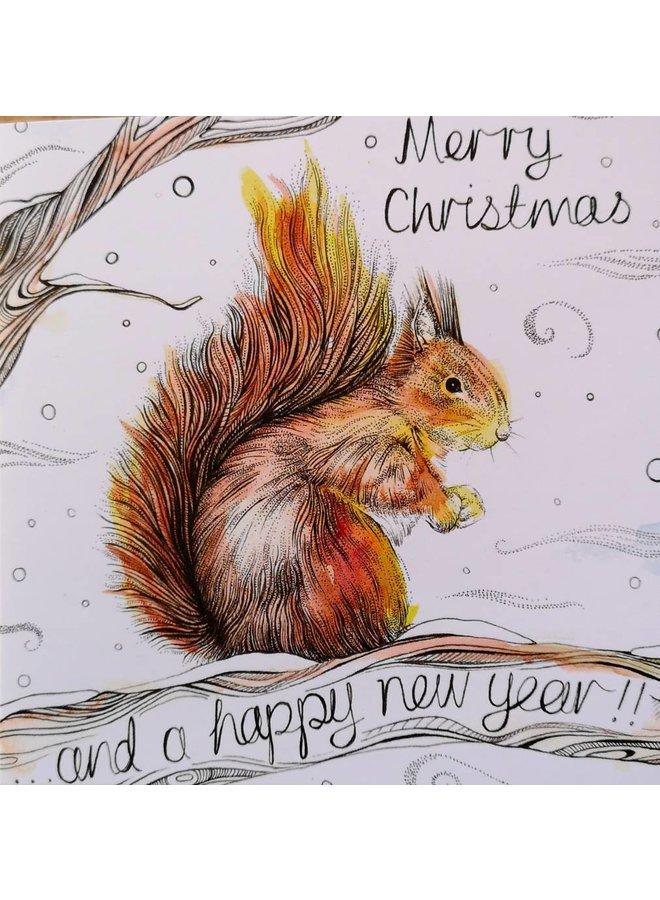Eichhörnchen Frohe Weihnachten Karte 5 x 5 cm