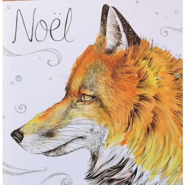 Fox Noel Merry Christmas card 5 x 5 cm