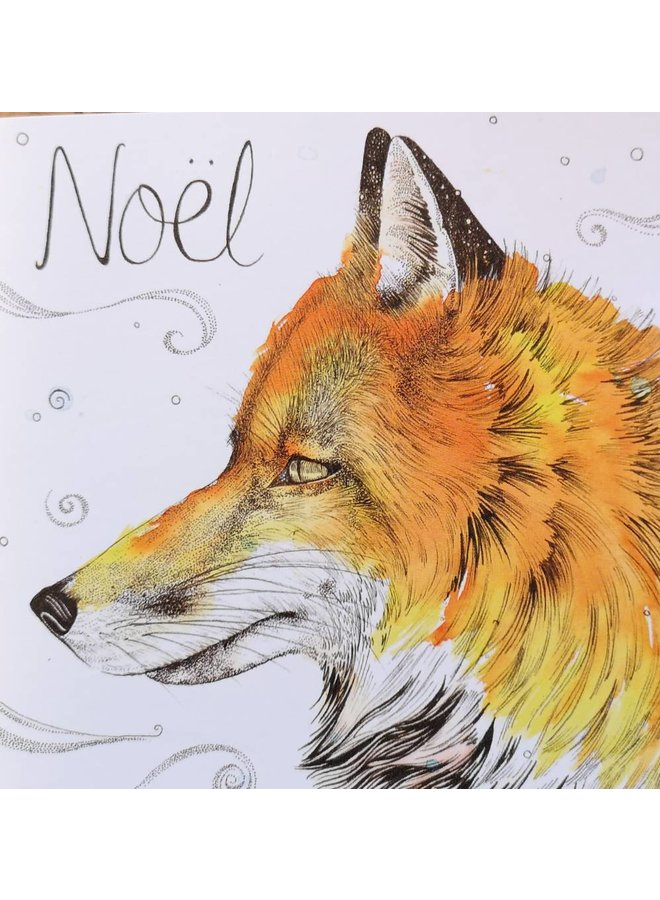 Fox Noel Frohe Weihnachtskarte 5 x 5 cm