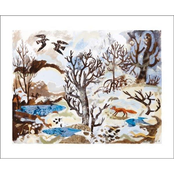 Winter Fox and Crows  by Mark Herald