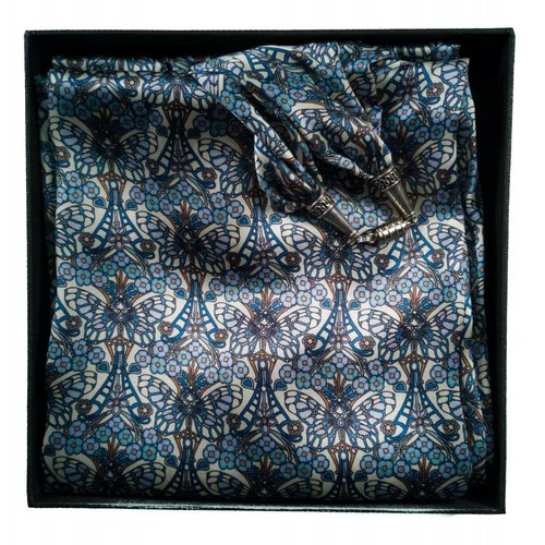 Lady Crow Silks Blue Morris Satin and Silk Scarf  with magnetic clasp Boxed