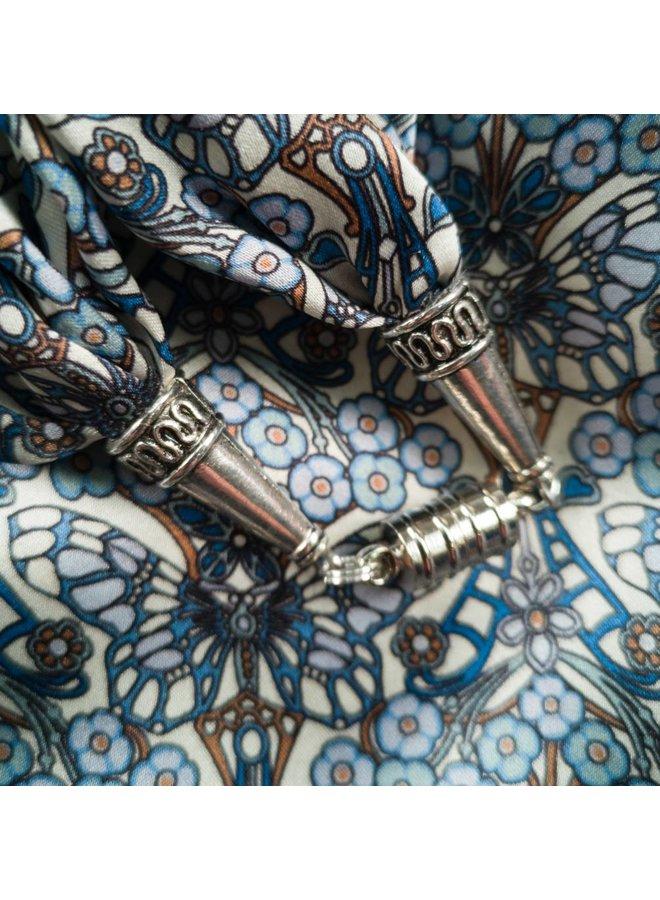 Blauer Morris Satin und Seidenschal mit Magnetverschluss Boxed