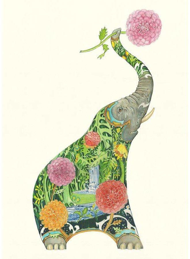 Elephant With Flower Card