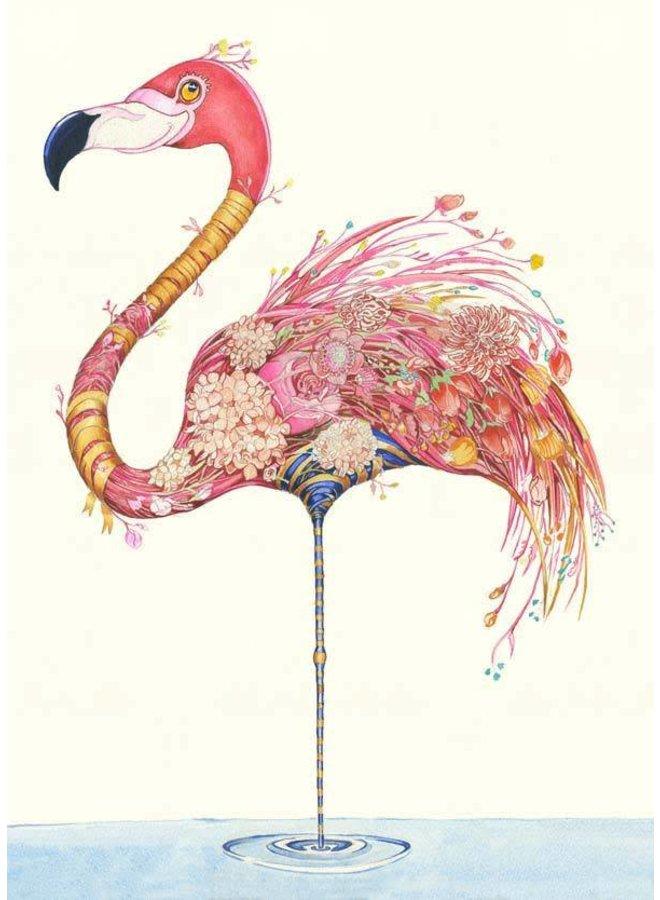Flamingo with Flowers