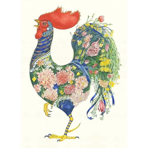Daniel Mackie Rooster with Flowers