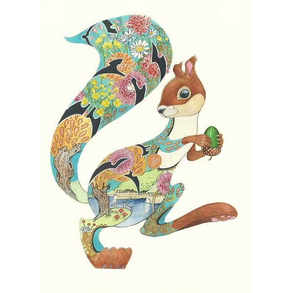 Turquoise Squirel card