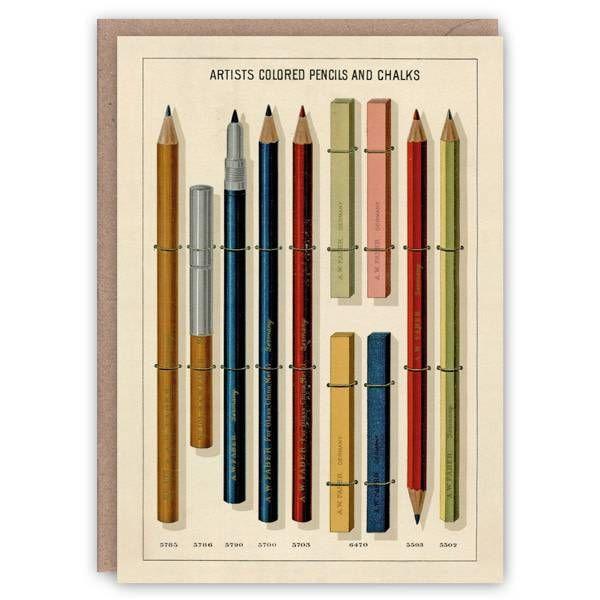 Tarjeta de libro de patrones de lápices de colores y tizas para artistas