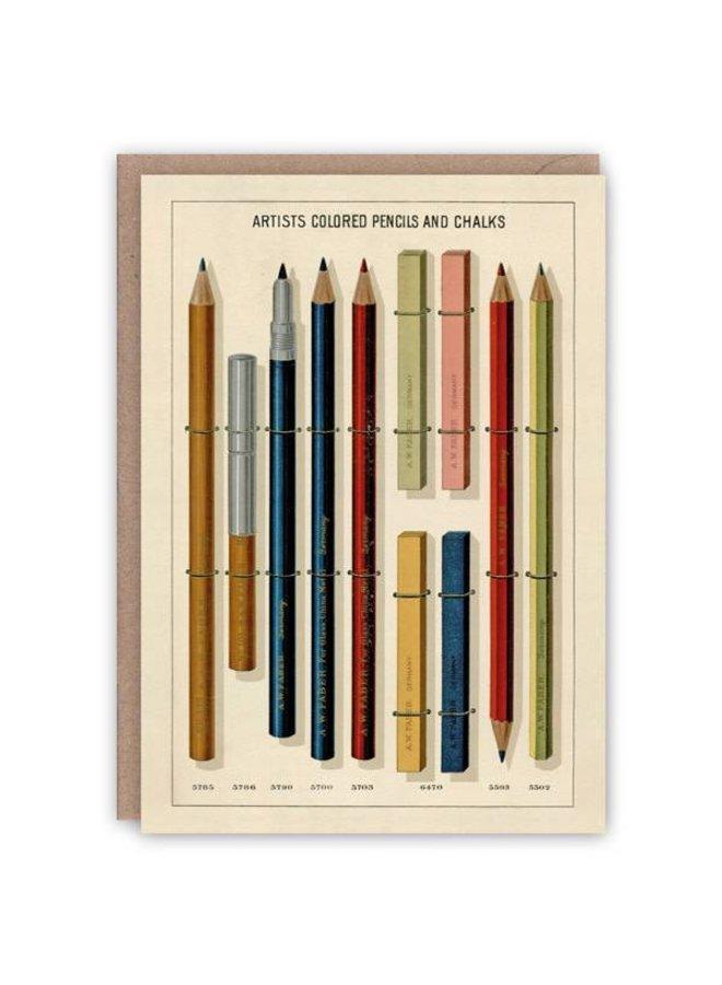 Künstler farbige Bleistift- und Kreidemusterbuchkarte