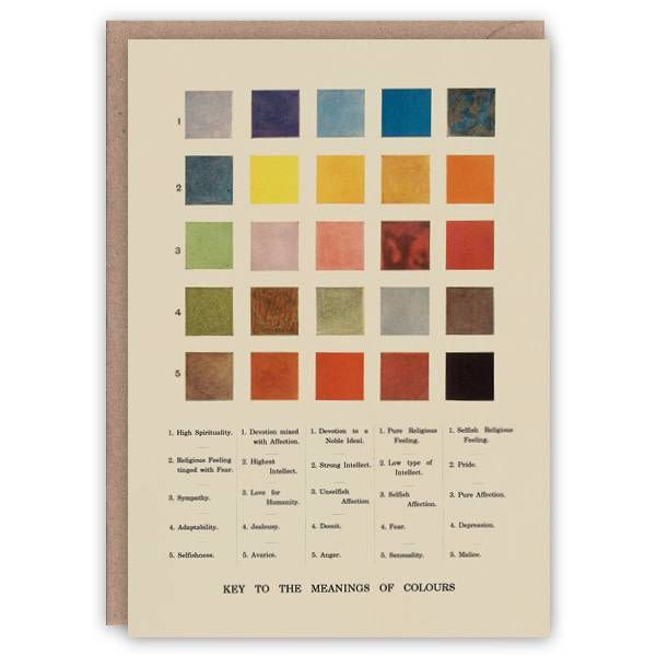 Meanings of Colours pattern book card