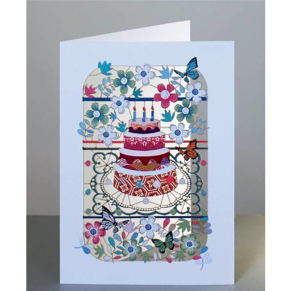 Pastel de cumpleaños y flores. Tarjeta de corte laser.