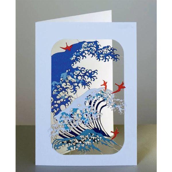 Tarjeta de corte laser de olas y pájaros
