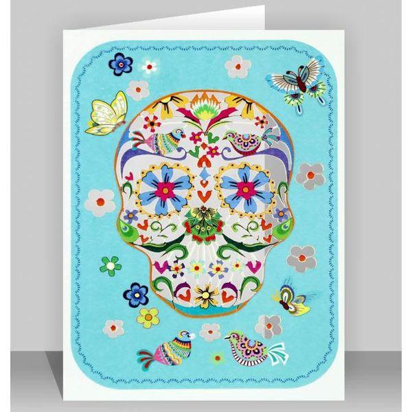 Blue Skull with Butterflies Laser cut card