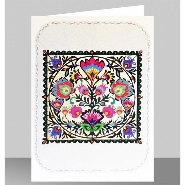 Tarjeta de corte láser de arte popular y flor cuadrada