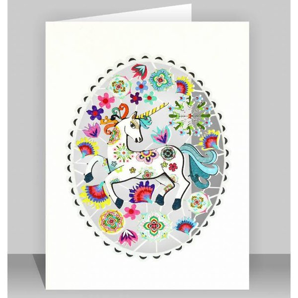 Unicorn in grey oval Laser cut card