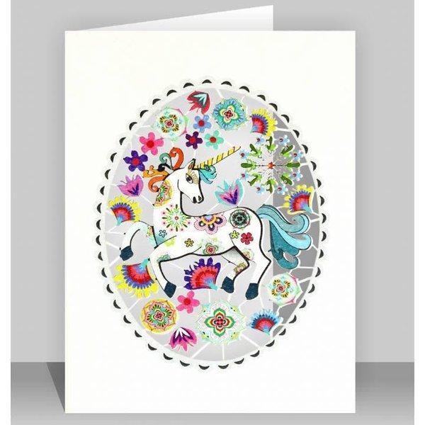 Unicornio en tarjeta ovalada gris corte laser