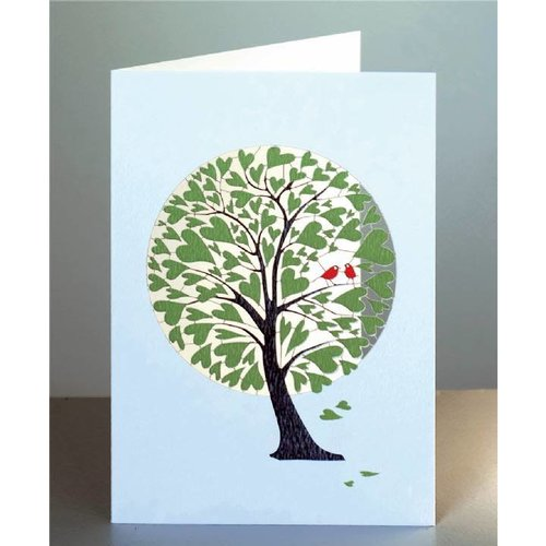 Forever Cards Green Heart Tree Laser cut card