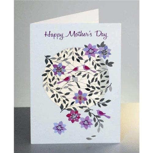 Forever Cards Happy Mothers Day Vögel und Blumen Laser geschnittene Karte
