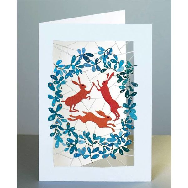 3 Hares Laser cut card