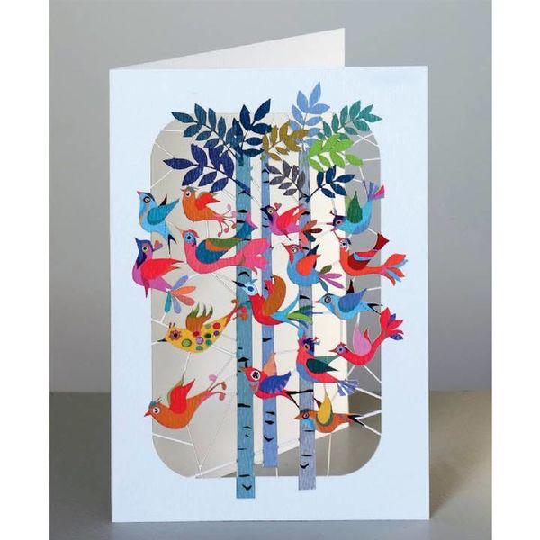 Birds flying through forest Laser cut card