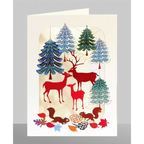 Forever Cards Deer Family in forest Laser cut card