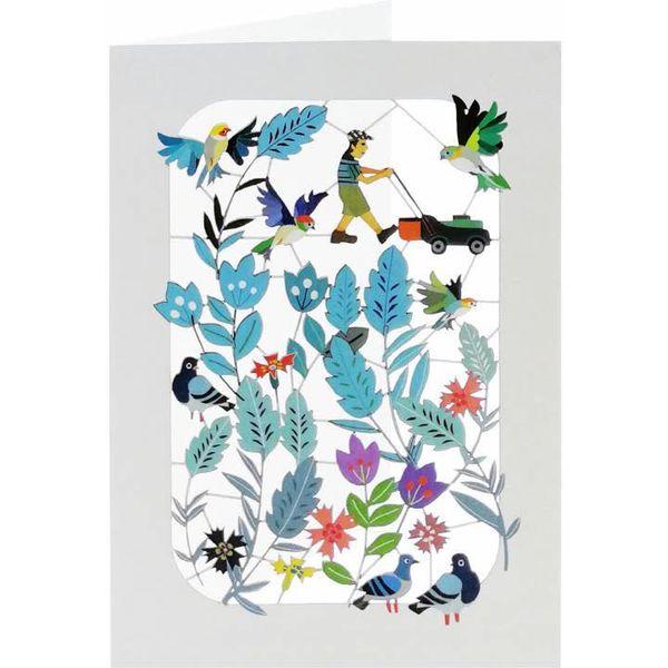 Tarjeta de corte laser jardinero, pájaros y flores.
