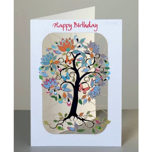 Forever Cards Happy Birthday  exotic tree, curly branches Laser cut card