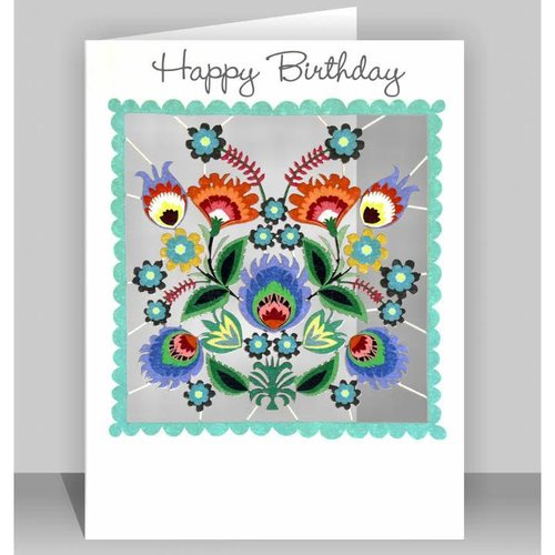 Forever Cards Happy Birthday blossoms Laser cut card