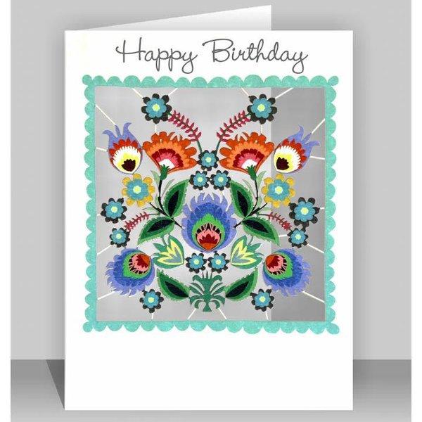 Tarjeta de corte laser de feliz cumpleaños flores