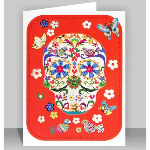 Forever Cards Pink skull with butterflies
