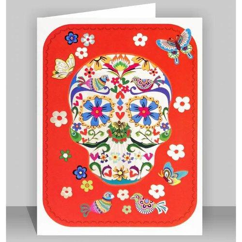 Forever Cards Rosa Schädel mit Schmetterlingen Lasergeschnittene Karte