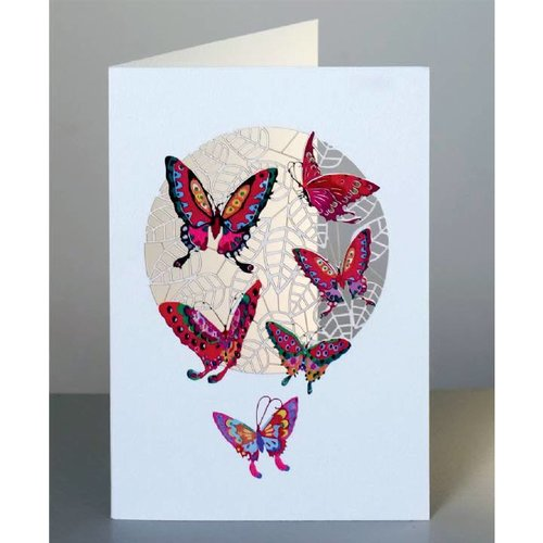 Forever Cards Red Butterflies Laser cut card