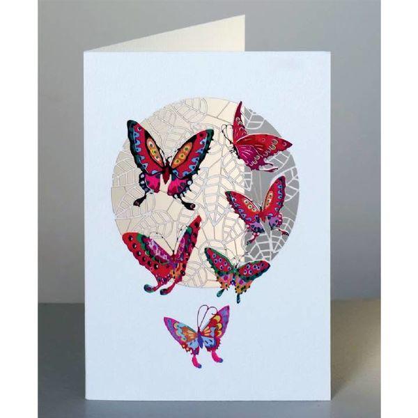 Red Butterflies Laser cut card
