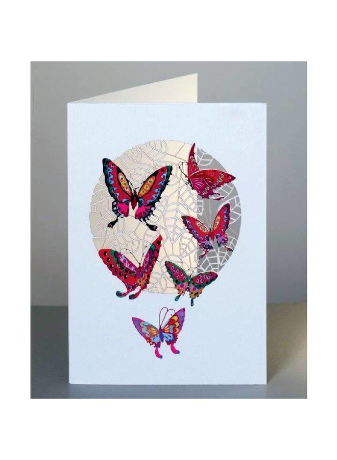 Rote Schmetterlinge Lasergeschnittene Karte