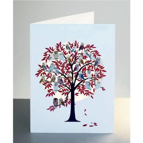 Forever Cards Roter Baum voller Eulen Laser geschnittene Karte