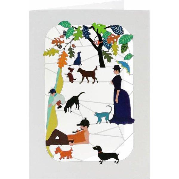 Relajante con perros y gatos. Tarjeta de corte laser.