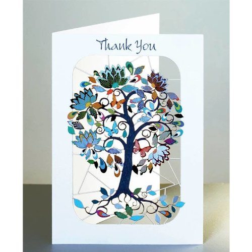 Forever Cards Thank you exotic flowering tree