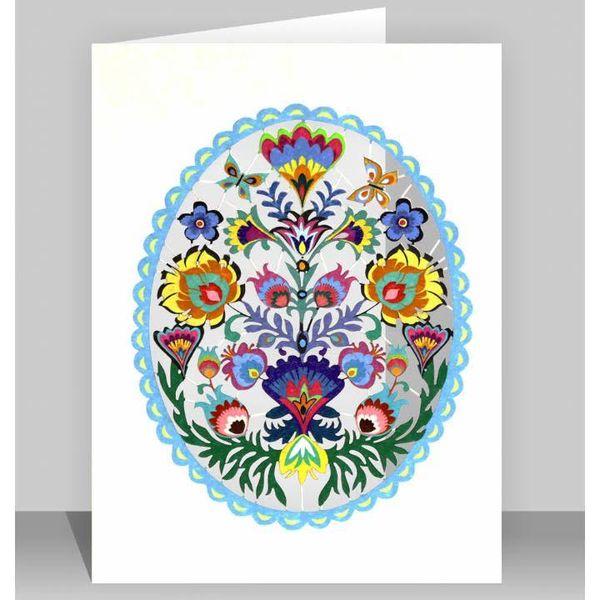 Tarjeta de corte láser de arte popular turquesa oval