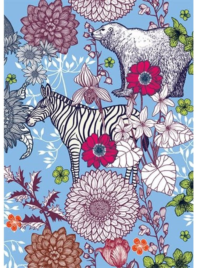 Blue Bear and Zebra blank card by Michael Cailloux