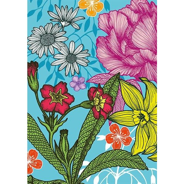 Blue Large Floral blank card by Michael Cailloux