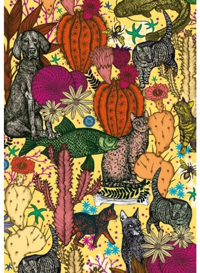 Cats and Cacti blank card by Michael Cailloux
