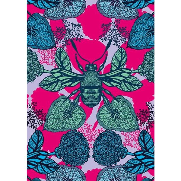 Pink Bee and Leaves  blank card by Michael Cailloux