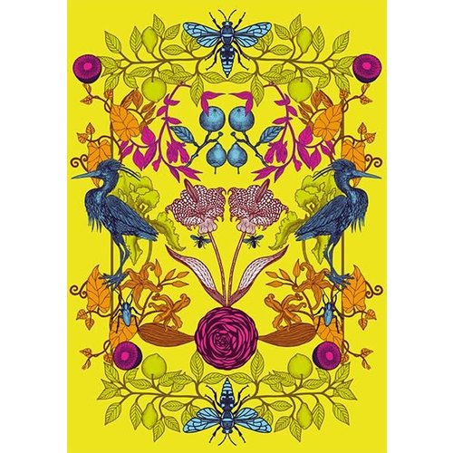 The Art File Yellow Birds and Flowers blank card by Michael Cailloux