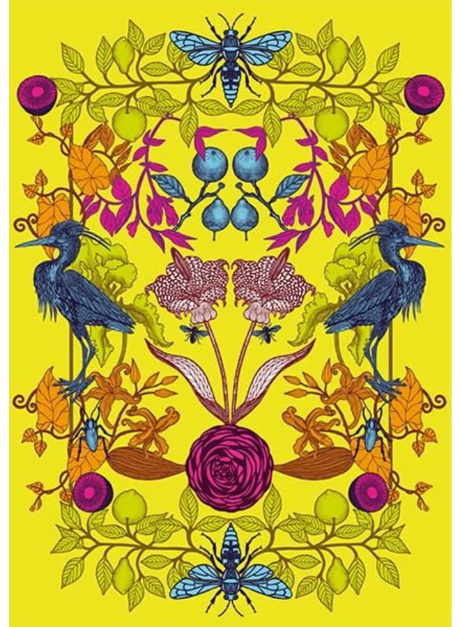 Yellow Birds and Flowers blank card by Michael Cailloux