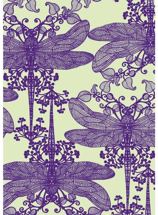 Purple Dragonflies  blank card by Michael Cailloux