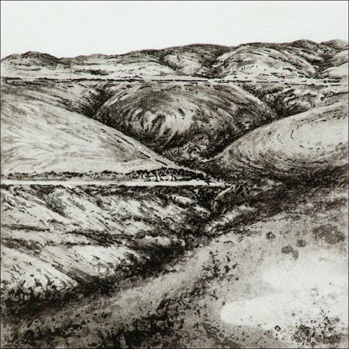 Ian Brooks Bond Clough Hill- etching  006 framed